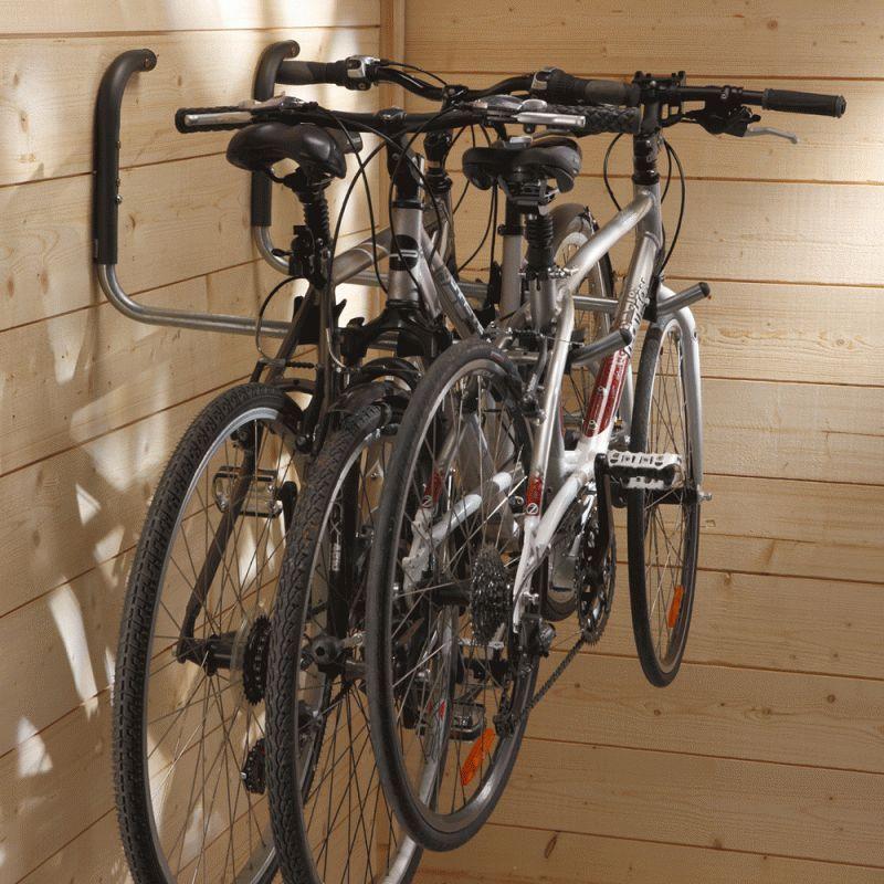 Držák kol na zeď za horní rámovou trubku - pro 3 kola